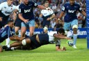 Will Skelton scores a try in the Waratahs' trial against the Blues (Source: AJF Photography)