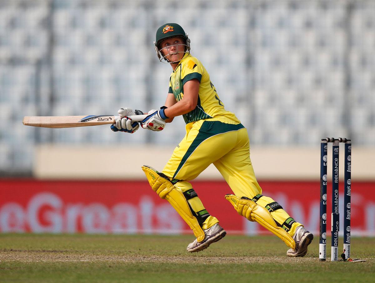 Australia's Alyssa Healy bats. (AP Photo/Aijaz Rahi)