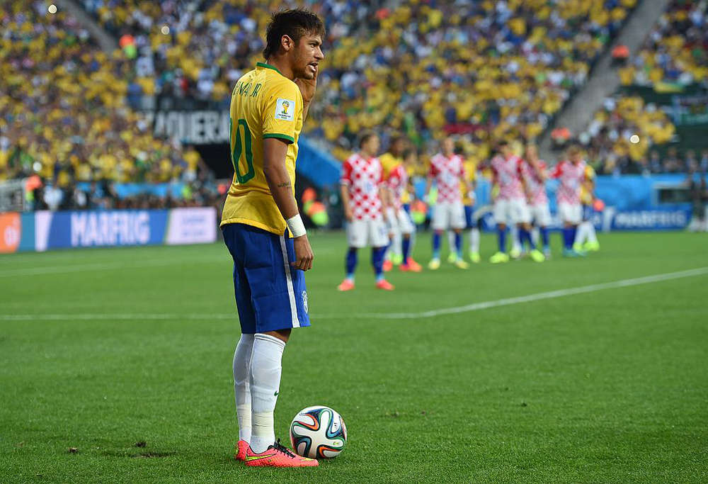 Brazil star Neymar against Croatia at the 2014 FIFA World Cup