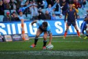 Rob Horne crosses for his first try for the Waratahs