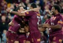 Queensland players celebrate Billy Slater's try during Game 3 of the 2014 State of Origin Series <br /> <a href='http://www.theroar.com.au/2014/07/09/state-origin-game-3-full-time-result-qld-32-8-nsw/'>State of Origin Game 3: Full time result - QLD 32-8 NSW</a>