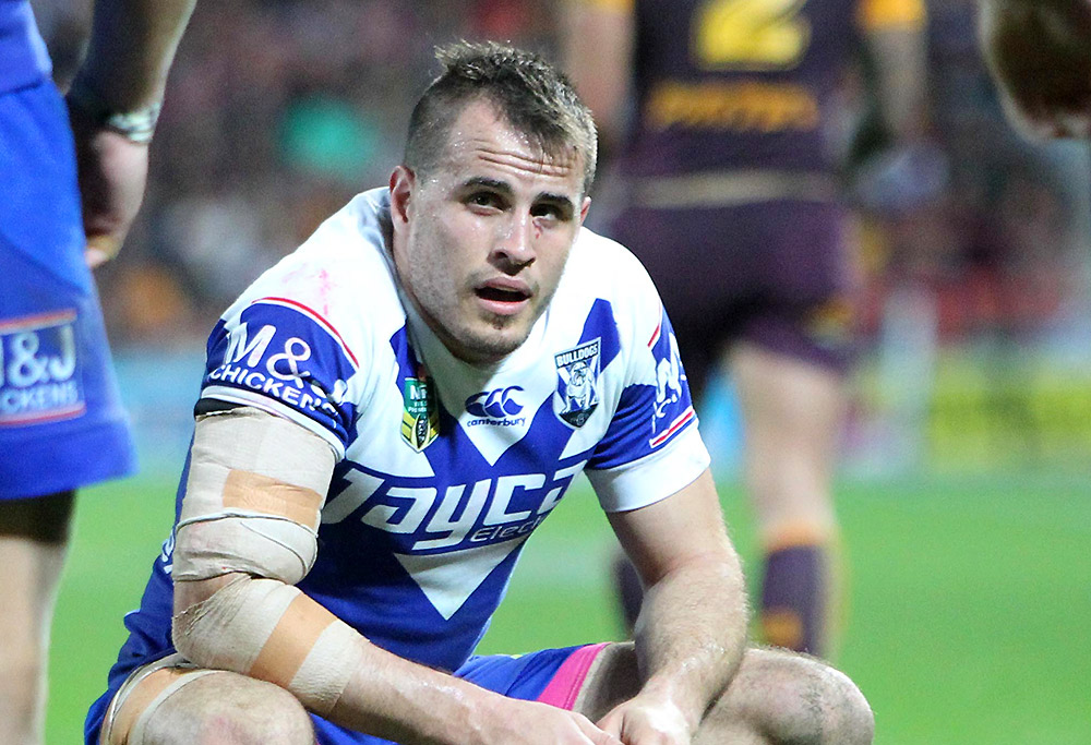 Bulldogs Josh Reynolds looks on
