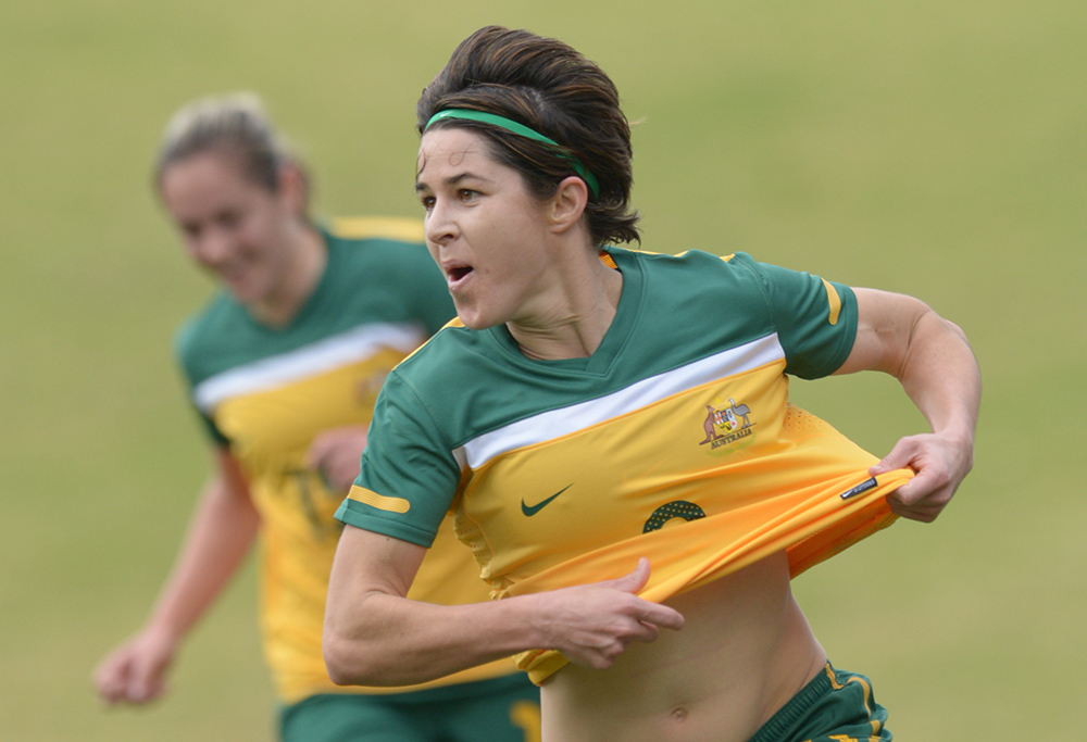Australia's Sarah Walsh celebrates her goal against New Zealand during their international friendly soccer match in Wollongong, Wednesday, June 27, 2012. (AAP Image/Dean Lewins)