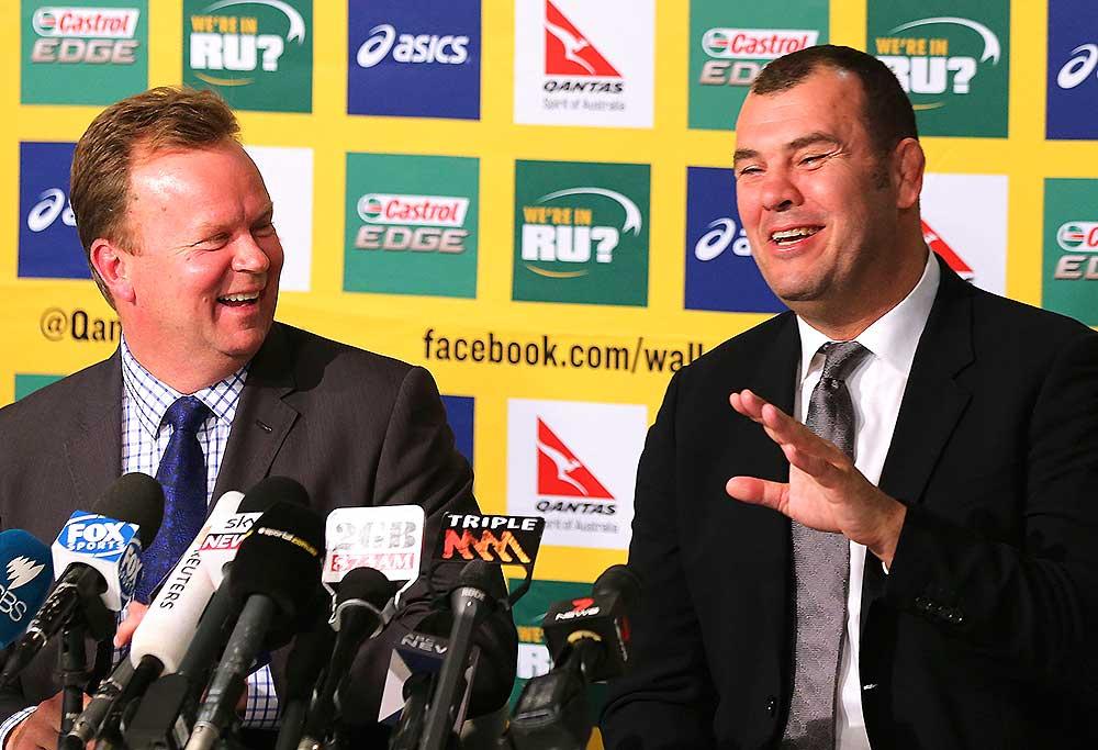 CEO of Australian Rugby Union Bill Pulver, and Wallabies head coach Michael Cheika
