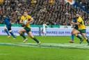Bernard Foley makes a break against France (Image. Tim Anger)