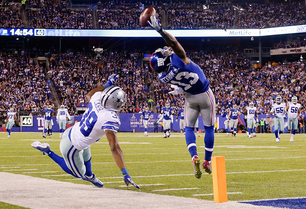 New York Giants wide receiver Odell Beckham Jr. (13) makes a one-handed catch for a touchdown