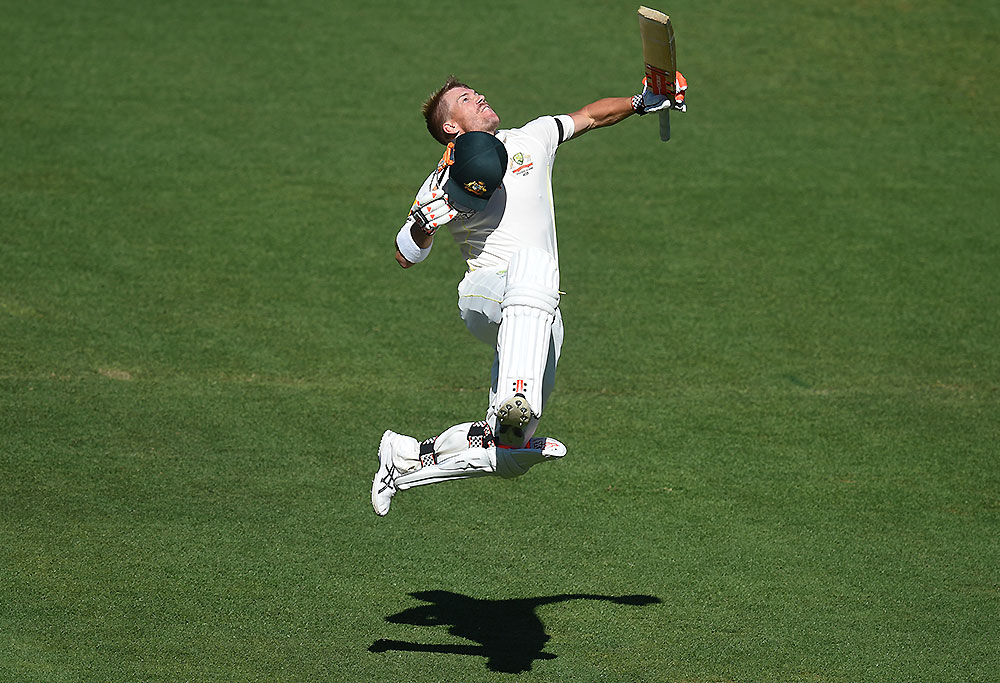 David Warner celebrates his second century in Adelaide