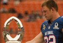 Kyle Rudolph with the Pro Bowl MVP Trophy <br /> <a href='http://www.theroar.com.au/2015/01/22/benefits-nfl-pro-bowl/'>Who benefits from the NFL Pro Bowl?</a>