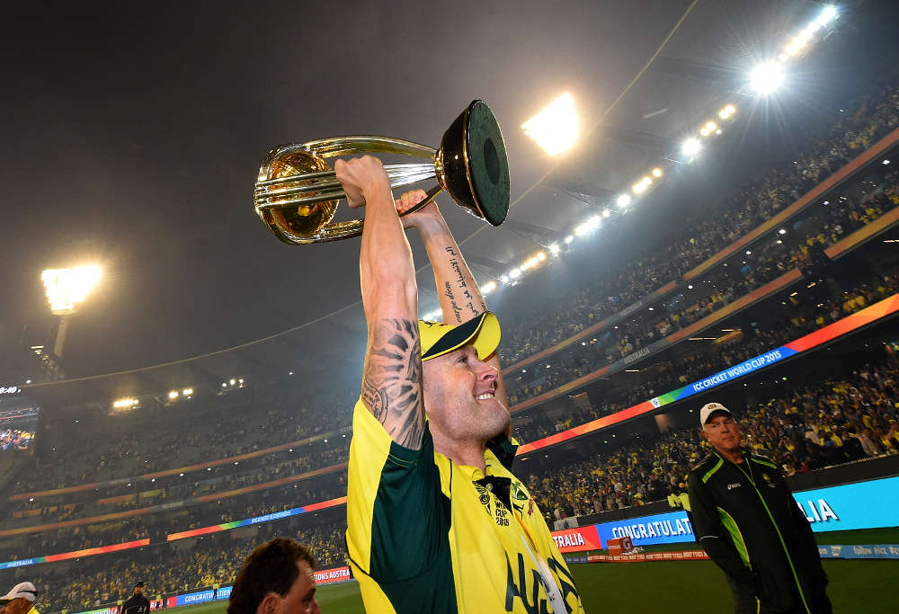 Australia skipper Michael Clarke celebrate winning the Cricket World Cup