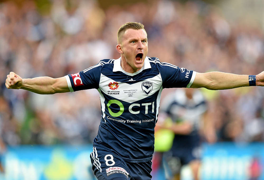 Besart Berisha of Victory celebrates after scoring a goal