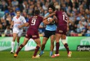 James Tamou is tackled in Origin I <br /> <a href='http://www.theroar.com.au/2015/05/27/state-of-origin-2015-game-1-in-images-and-video/'>State of Origin 2015: Relive Game 1 in images and video</a>