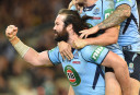 Aaron Woods celebrates a try with teammates <br /> <a href='http://www.theroar.com.au/2015/06/17/state-of-origin-game-2-full-time-nsw-defeat-queensland-26-18/'>State of Origin Game 2 full time: NSW defeat Queensland 26-18</a>