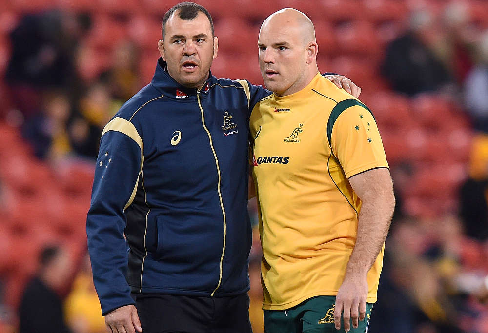 Wallabies coach Michael Cheika (left) and captain Stephen Moore