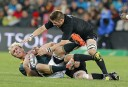 South Africa flanker Schalk Burger (L) is tackled by New Zealand flanker Richie McCaw <br /> <a href='http://www.theroar.com.au/2015/07/29/spiro-win-ellis-park-boks-win-anywhere/'>SPIRO: Win at Ellis Park against the Boks, win anywhere</a>