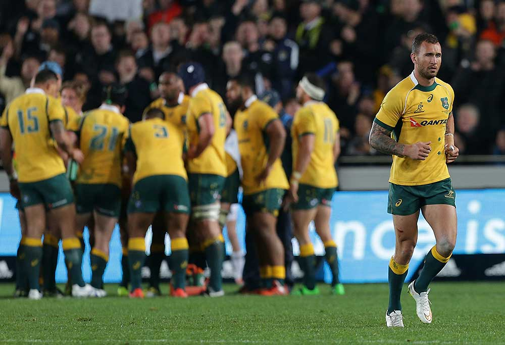 Australia`s Quade Cooper is yellow carded and leave the pitch