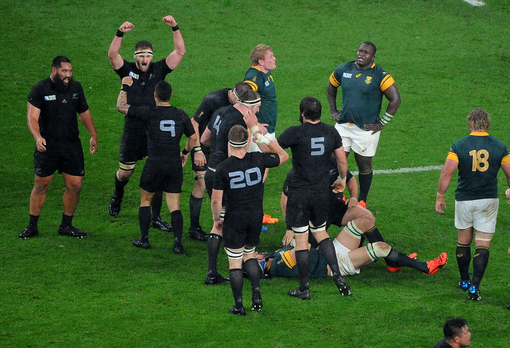 New Zealand All Blacks players celebrated defeating South Africa Springboks 2015 Rugby World Cup semi-final