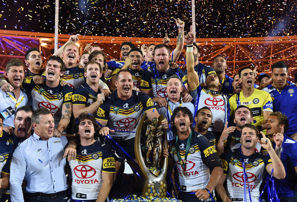North Queensland Cowboys celebrate winning the 2015 NRL Grand Final