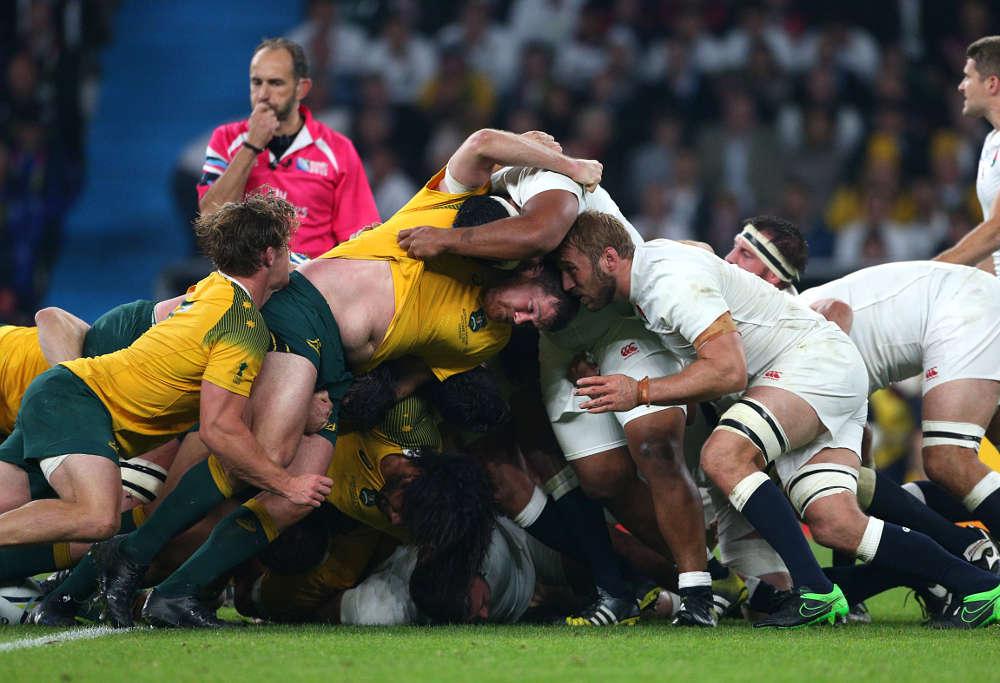 England and Australia contest the scrum