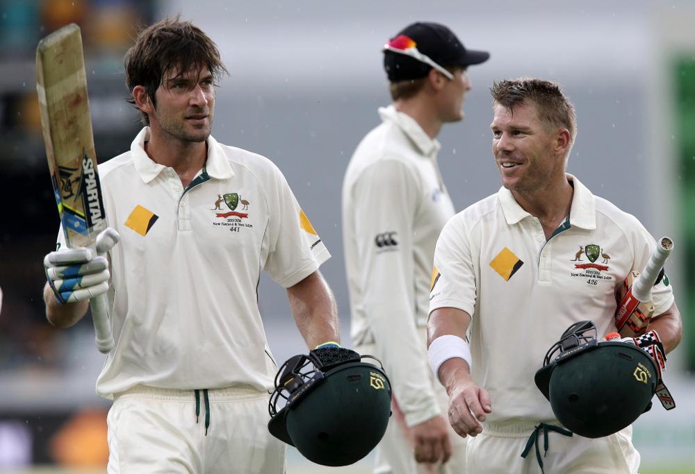 Australia's Joe Burns, left, and David Warner, right