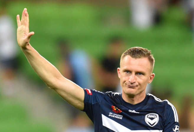 Besart Berisha of the Victory waves to fans