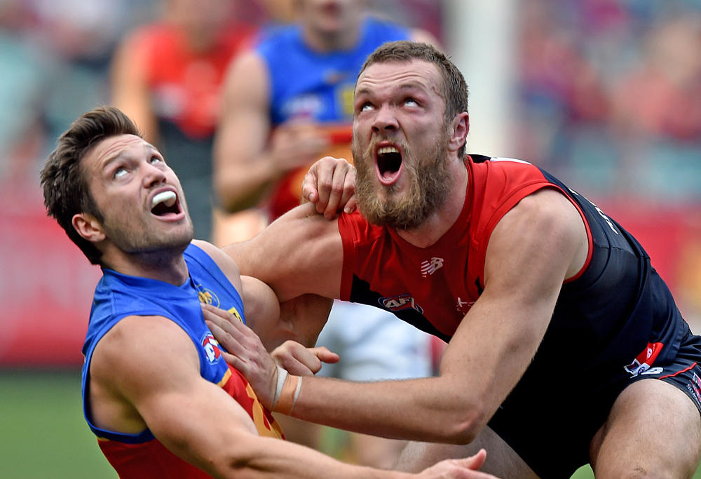 Max Gawn of the Demons and Stefan Martin of the Lions