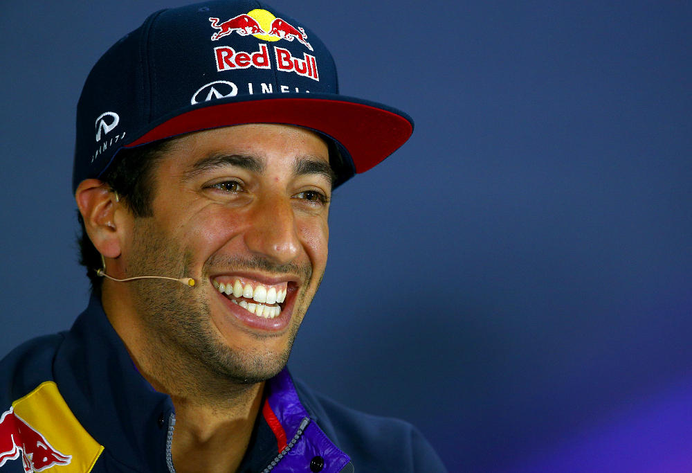 Dan Ricciardo smiles at press conference