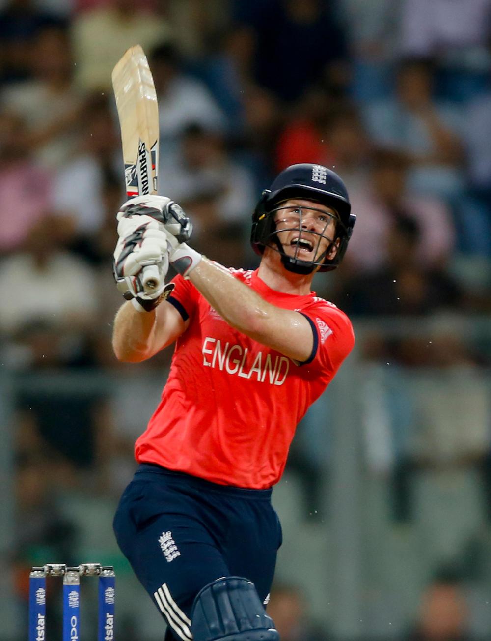 England's captain Eoin Morgan bats