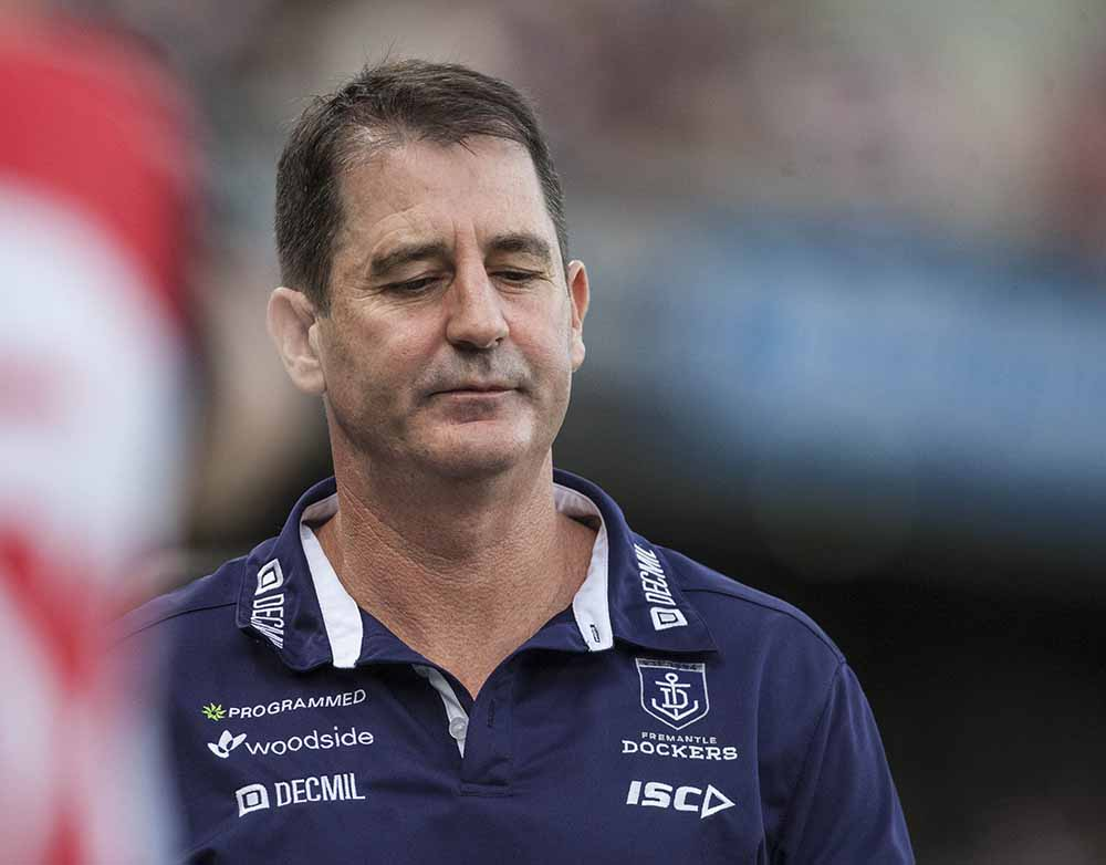 Dockers coach Ross Lyon looking glum