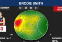 Brodie Smith heat map <br /> <a href='http://www.theroar.com.au/2016/04/13/patrick-who-crows-strong-start-a-sign-of-things-to-come/'>Patrick who? Crows' strong start a sign of things to come</a>