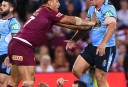Maroons player Josh Papalii pushes Blues player Greg Bird <br /> <a href='http://www.theroar.com.au/2016/06/22/watch-dane-gagai-scores-opening-try-origin-2/'>WATCH: Dane Gagai scores the opening try of Origin 2 after amazing footrace</a>