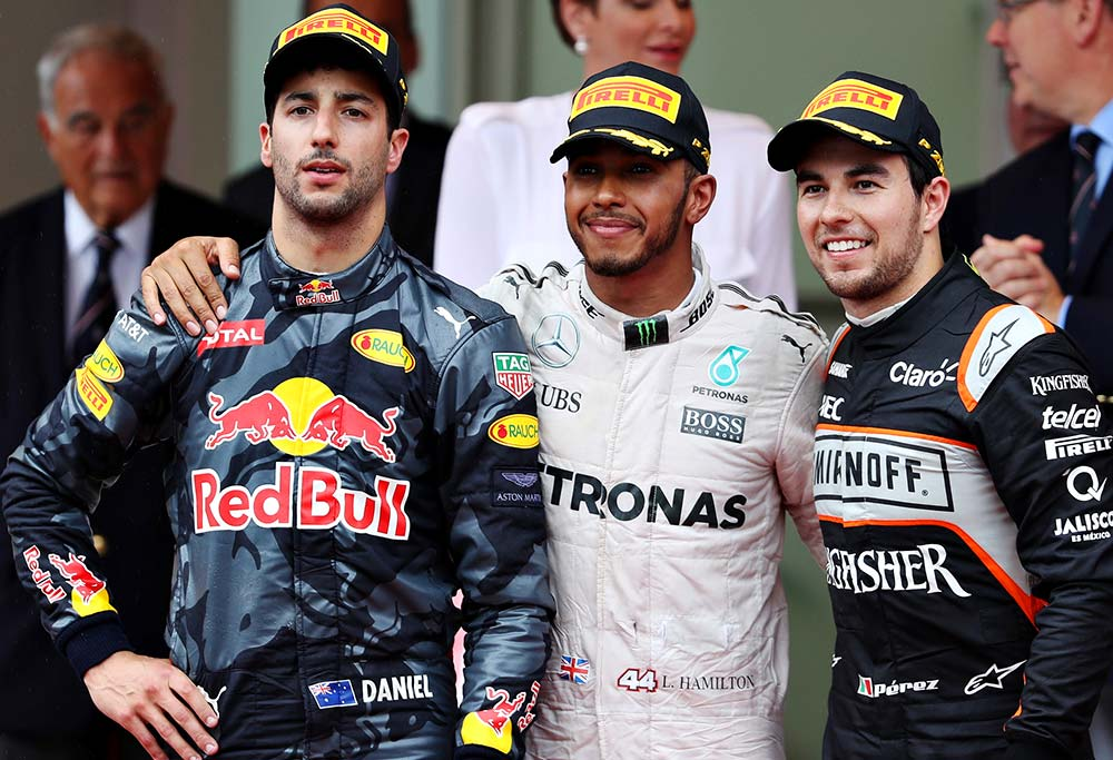 Daniel Ricciardo, Lewis Hamilton and Sergio Perez on the Monaco podium