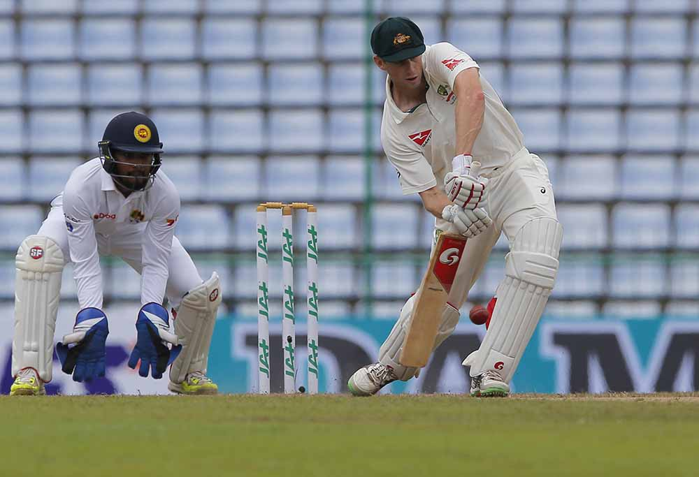 Adam Voges scores a run in Sri Lanka