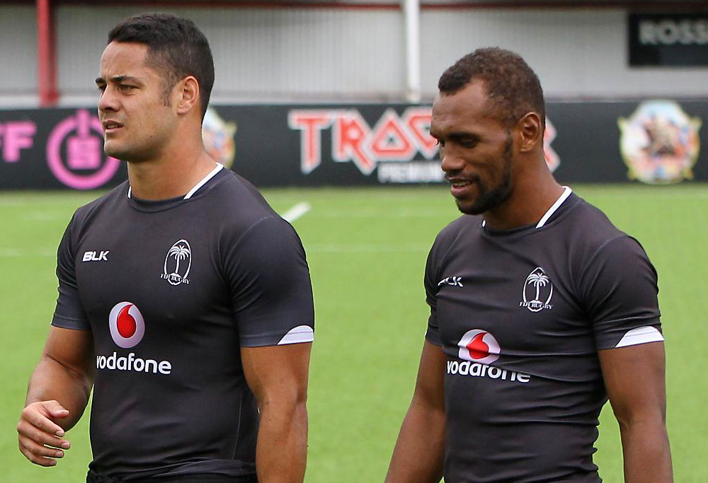 Jarryd Hayne training with Fiji sevens side
