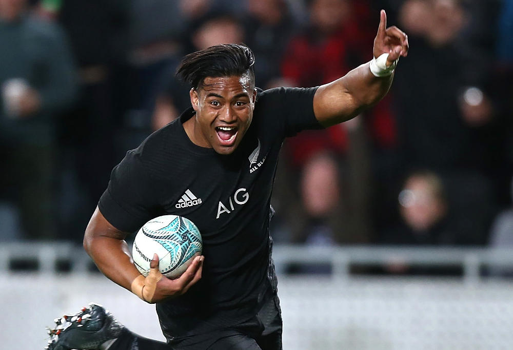 Julian Savea of New Zealand All Blacks scores a try