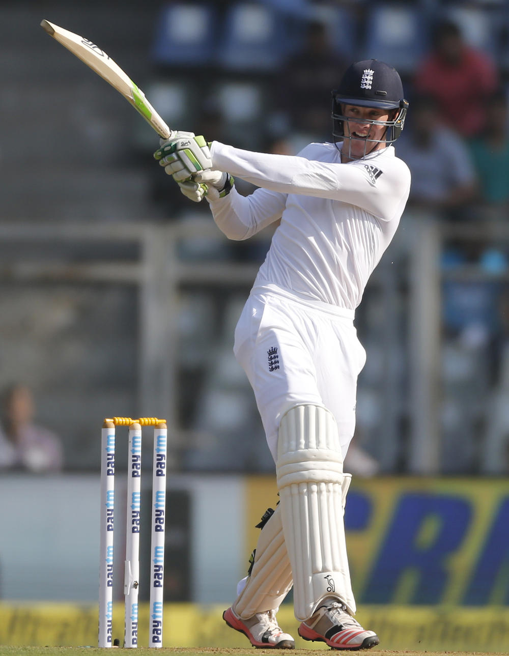 Keaton Jennings plays a shot for England.