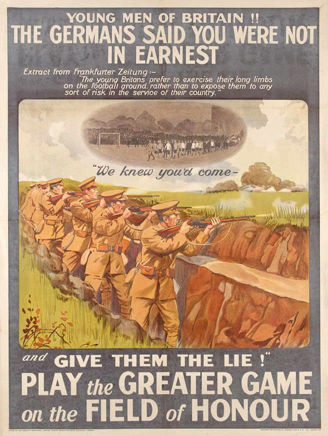 football battalion poster from WWI