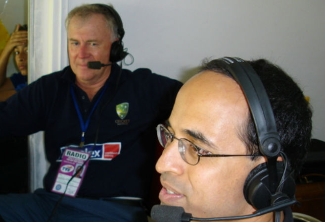 Jim and Harsha Bhogle, at Wankhede Stadium, Mumbai 2004.