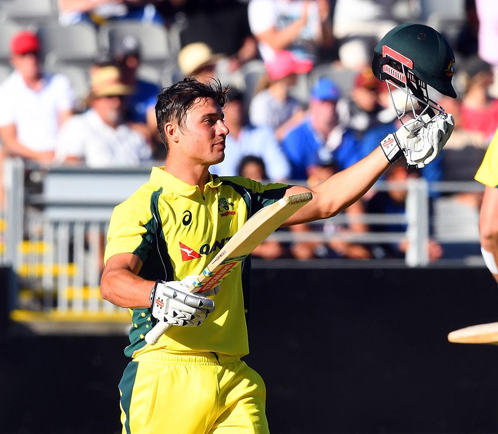 Marcus Stoinis of Australia celebrates on reaching his maiden century