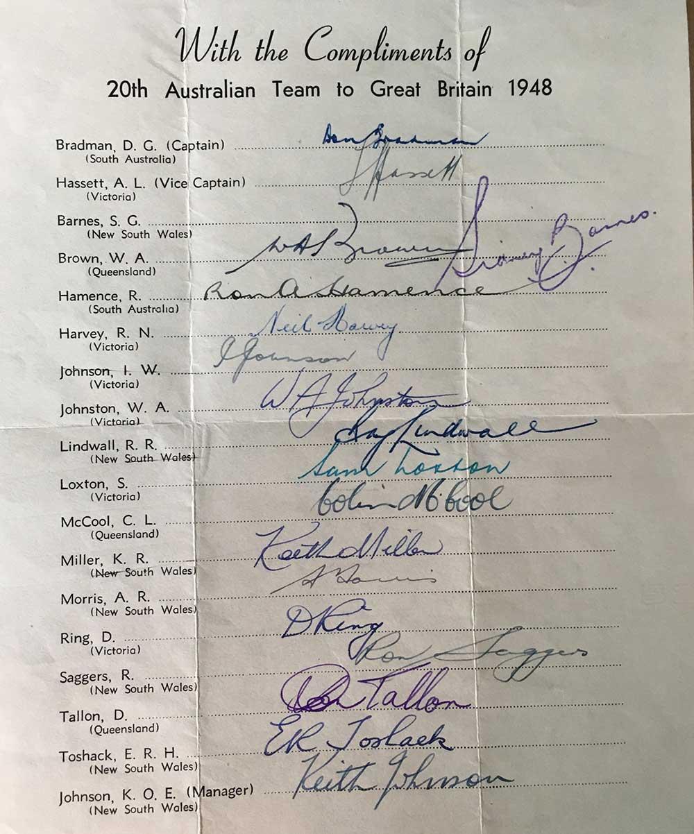 1948 Invincibles team sheet