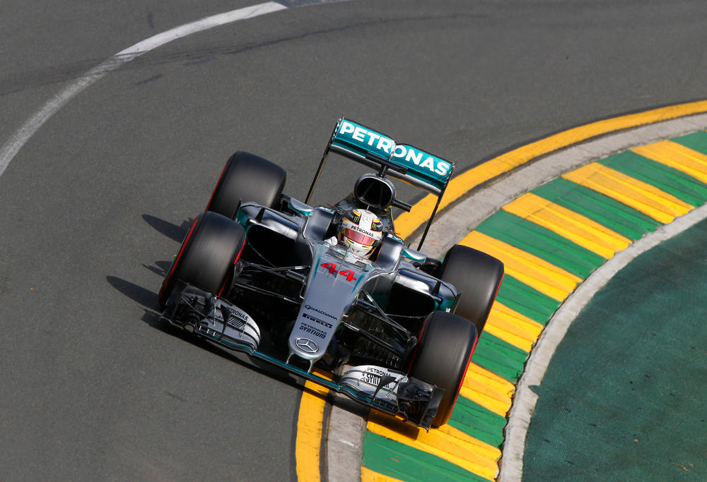 Lewis Hamilton rounds a corner in his Mercedes Formula One.