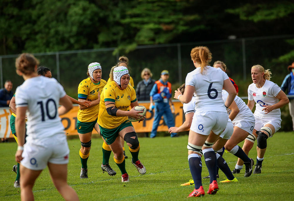 Victoria Latu takes the ball up for the Wallaroos