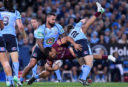 Will Chambers tackled by Andrew Fifita and Brett Morris <br /> <a href='http://www.theroar.com.au/2017/06/23/queensland-great-blues-choked-end/'>Queensland are great, Blues choked. The end.</a>