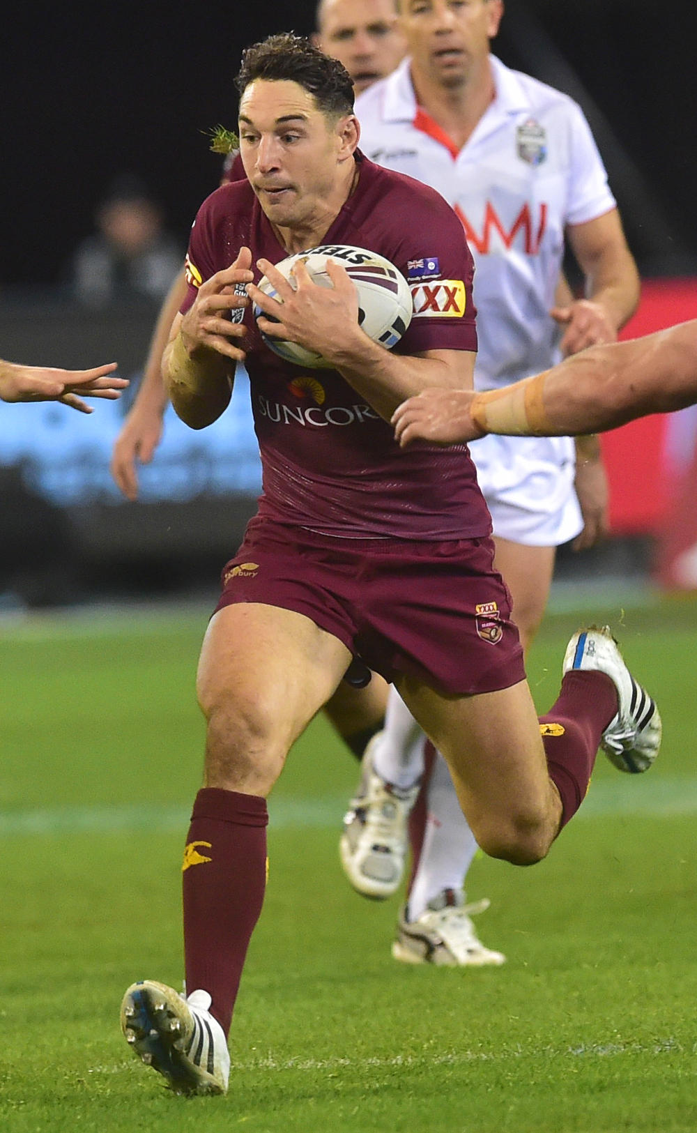 Billy Slater runs the ball for the Maroons in State of Origin