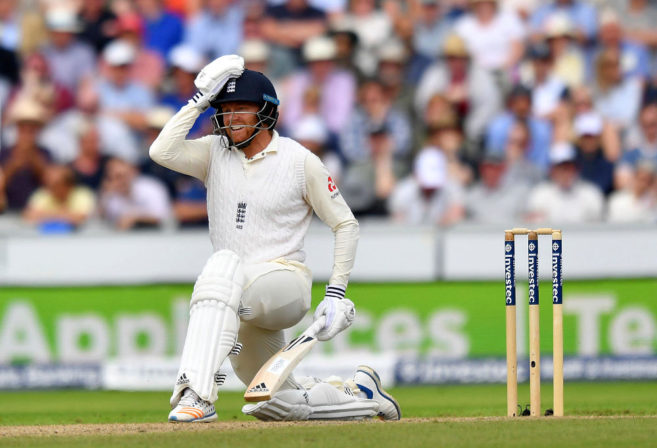 England's Jonny Bairstow reacts as he is given out lbw as he attempts a sweep shot on 99 runs during day two of the Fourth Test at Emirates Old Trafford in Manchester, England, Saturday Aug. 5, 2017.