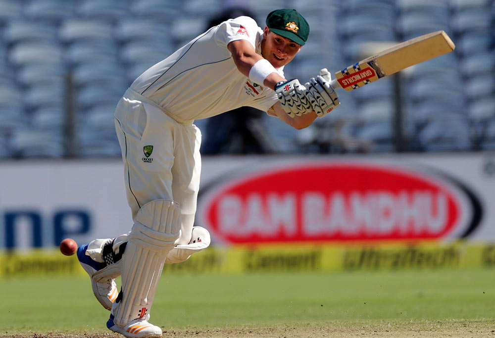 Matt Renshaw bats during a test match against India