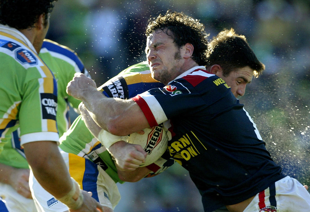 Adrian Morley of the Roosters in action