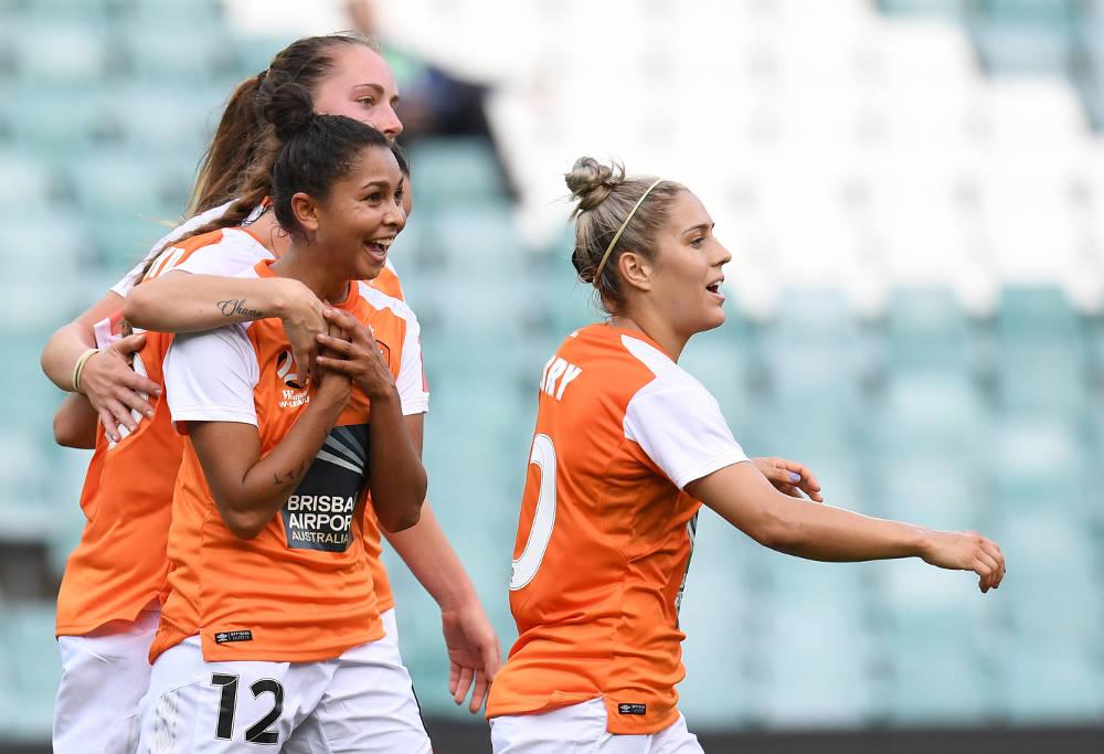 Allira Toby celebrates her goal for Brisbane Roar against Sydney FC