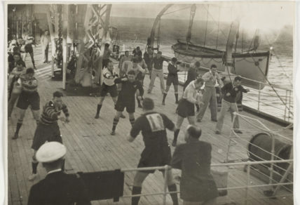 The 1939 Wallabies training on the deck of the 'Mooltan'