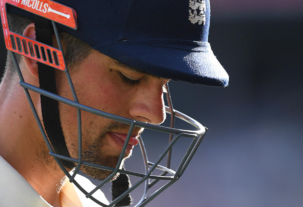 England batsman Alastair Cook departs after being dismissed by Australian bowler Josh Hazlewood for 7 runs on Day 3 of the First Test match between Australia and England at the Gabba in Brisbane, Saturday, November 25, 2017.