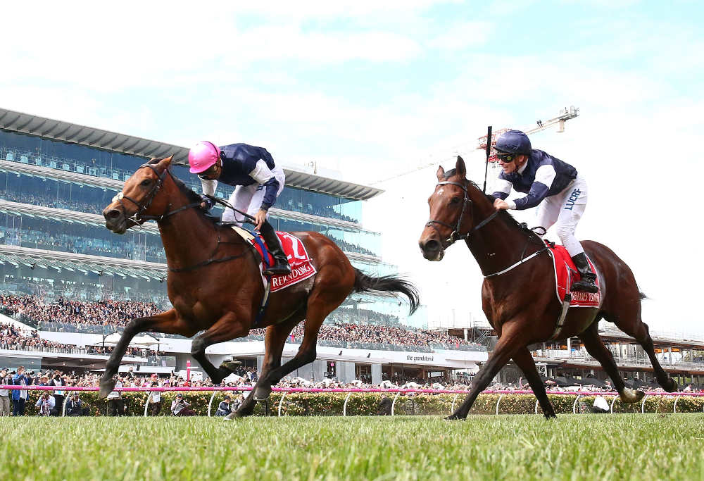 Corey Brown rides Rekindling to victory at the2017 Melbourne Cup.